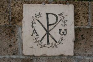 Chi rho from catacomb in Domitilla, Rome. Source: domitilla.info