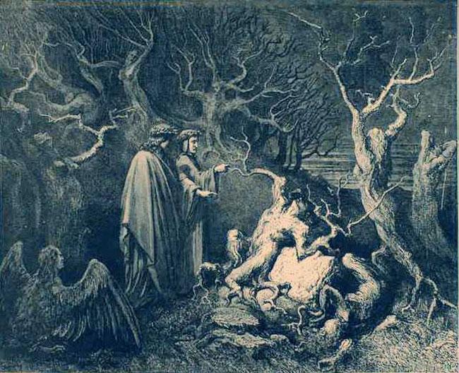 """""""Dante and Virgil before Pier della Vigna"""" by Gustave Dore, 1890"""